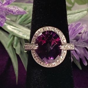 Large Faceted Oval Amethyst Sterling Ring
